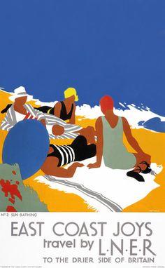 Purvis, Tom -- 'East Coast Joys No 2 - Sun-bathing', LNER poster, 1931.  Vintage travel beach poster #essenzadiriviera www.varaldocosmetica.it/en
