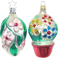 Pair Silvered Glass Embossed Flower Christmas Ornaments --- Vintage Christmas ornaments found at www.rubylane.com @rubylanecom