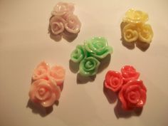 Beautiful Triple Rose Assorted Color Resin by TheEiffelTeaRoom, $3.00