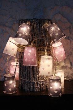 Lichterketten - 10-er LED Stoff - Lichterkette : Sterne - ein Designerstück von Stoeberland bei DaWanda