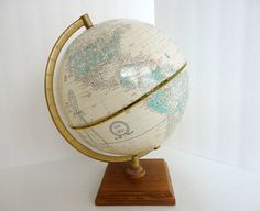 Vintage Crams World Globe 10 inch Wood table stand 1970s Mid century Office Photo prop