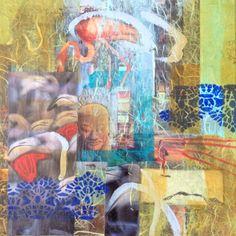 Flamingo dream lll, mixed media, 30x30 cm.