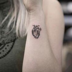 Tiny Anatomical Heart Tattoo by maxim.nyc Tiny Anatomical Heart Tattoo by maxim. Trendy Tattoos, Cute Tattoos, New Tattoos, Body Art Tattoos, Small Tattoos, Sleeve Tattoos, Tattoos For Women, Tatoos, Fashion Tattoos