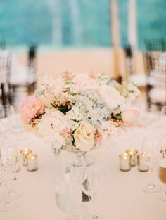 Pastel Pink and Blue Centerpiece | photography by http://www.ariellephoto.com