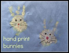 Hand print bunny craft - white paint, markers, pink pom pom, wiggly eyes