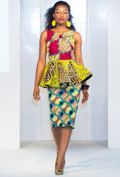 The Peplum Trend At Africa Fashion Week London ~Latest African Fashion, African Prints, African . African Dresses For Women, African Print Dresses, African Fashion Dresses, African Attire, African Wear, African Women, Fashion Outfits, African Prints, Fashion Styles
