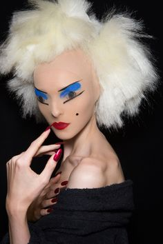 """Schizo disco, plastic pulp, Soho sex club,"" was the makeup vibe at Gareth Pugh, according to MAC's Val Garland."