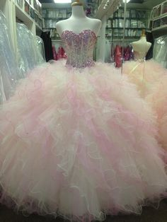 Stunning Champagne and Pink colored tulle Quinceañera dress!
