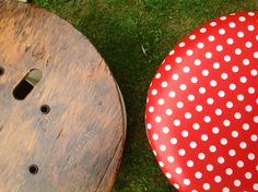 Table and stools made from reclaimed cable reels