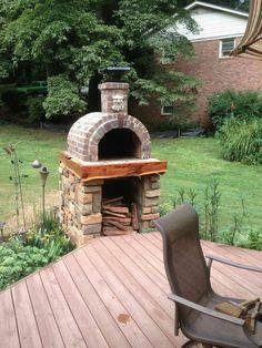 Pizzaofen bauen Ziegel oval Schornstein