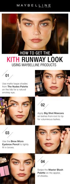 The Kith runway look at New York Fashion Week was all about a natural look.  First, use the matte taupe shades in the Nudes Palette.  Next, apply Big Shot Mascara for big, voluminous lashes.  Then, use Brow Micro Pencil to fill in lashes.  For a natural flush, apply Master Blush Palette.  Click through to see more NYFW makeup inspiration.