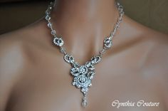 Bridal Jewelry Set,Bridal Necklace and Earring Set,Vintage Style Necklace,Swarovski Crystal Clear Necklace,Wedding Necklace and Earring Set. $189.00, via Etsy.