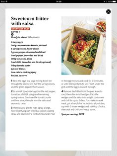 Sweet corn fritter with salsa Sweet Corn Fritters, Large Egg, Slimming World, Vegetable Recipes, Salsa, Lime, Stuffed Peppers, Canning, Vegetables