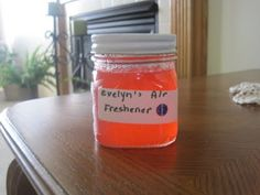 DIY gel air freshener  All you need is:  2 Envelopes unflavored Gelatin   1tsp or more of some perfume or other fragrance  1/2 cup hot water  1/2 cup ice cold water  Food coloring   A small jar like a jelly or baby food jar