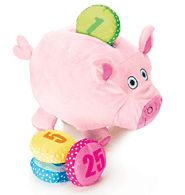 """Tiny Tillia Plush Dilly Piggy Bank - Dilly Pig gives lessons in saving and learning numbers. This plush bank comes with four crinkly coins. Measures 8 1/2"""" H x 10"""" L. Set of 5. Polyester. Imported."""