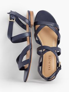 Wedding shoes flats navy ankle straps new ideas Ankle Straps, Ankle Strap Sandals, Leather Sandals, Kids Sandals, Women Sandals, Shoes Women, Navy Blue Sandals, Baskets, Mode Shoes