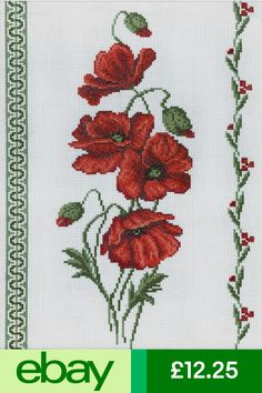 Poppies Counted Cross Stitch Kit x Cross Stitch Heart, Cross Stitch Borders, Counted Cross Stitch Kits, Cross Stitch Flowers, Cross Stitch Designs, Cross Stitch Patterns, Embroidery Kits, Cross Stitch Embroidery, Poppy Flowers