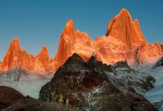 Fitz Roy at sunrise buried deep in the Andes, in the hinterland between Argentina and Chile