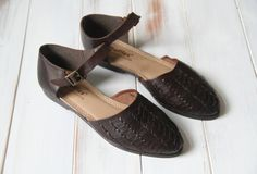 SIZE 7 1/2 Vintage D'Orsay Deep Brown Leather Woven by 601VINTAGE, $37.00