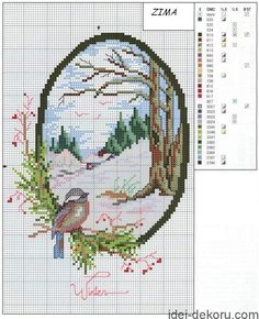Embroidery, works and hundreds of cross-stitch patterns of all types, free: Four seasons cross stitch Cross Stitch House, Cross Stitch Needles, Cross Stitch Bird, Cross Stitch Animals, Cross Stitch Flowers, Cross Stitch Charts, Cross Stitch Designs, Cross Stitching, Cross Stitch Embroidery