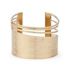 """Brides: Sole Society. """"Cutout Mini Cuff"""" gold-toned brushed metal bracelet with cutout details, $34.95, Sole Society"""
