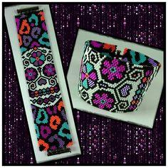 Pattern Funpatterndesign, Debbie van Tonder. #armband #smycken #handgjordasmycken #handgjort #döskalle #bracelets #bracelet #peyotestitch #miyuki #delicabeads #handmade #skull #sugarskull #jewelry