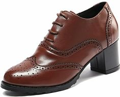 Ulite Brown Brogues Laceup Wingtip Leather Pump Oxfords Vintage Oxford Shoe Womens BR 85 *** See this great product. (This is an affiliate link) Brown Brogues, Oxford Brogues, Oxfords, Walking In Heels, Chunky High Heels, Women Oxford Shoes, Everyday Shoes, Pump Shoes, Flats