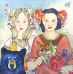 Snow White, Rose Red and the Enchanted Prince (Grimm's Fairy Tale Illustration)- limited edition print of original mixed media painting by DreamSquirrel on Etsy https://www.etsy.com/listing/150738807/snow-white-rose-red-and-the-enchanted