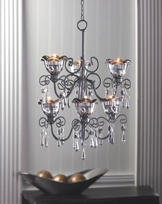 Black Wrought Iron Double Tier Candle Chandelier with Smoked Glass Cups and Dangling Crystals