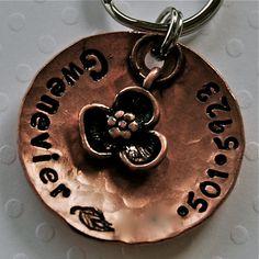 Custom #pet #id #tag / #Petals #copper domed tag #handmade #thecraftstar $12.00