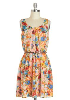 Beauty in the Boutique Dress - Pink, Floral, Belted, Spring, Chiffon, Short, Multi, A-line, Tank top (2 thick straps), Scoop, Pleats, Casual