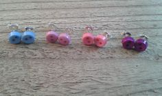 Tiny Bright Button Stud Earrings by WinterandDeanCrafts on Etsy