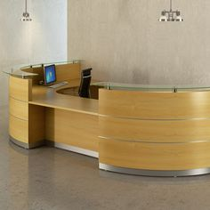Scene Reception Desks are a custom made office furniture solution. Bespoke receptionist desks help present a professional welcome to your office building. Curved Reception Desk, Curved Desk, Reception Desk Design, Reception Counter, Hospital Reception, Receptionist Desk, Reception Furniture, Office Table, Front Desk
