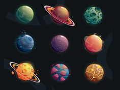 Cartoon Fantasy Planets Set On Space Stock Vector (Royalty Free) 501586774 Space Illustration, Graphic Design Illustration, Game Design, Icon Design, Overlays, Planet Drawing, Planet Design, Space Games, Space Planets