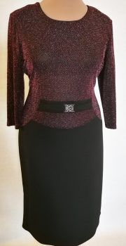 Fekete alapszínű, felső része elől-hátul nagyon szép lila-rózsaszín színű, csillogós fényű, vastagabb, selymes tapintású anyagú alkalmi ruha Sweaters, Dresses, Fashion, Gowns, Moda, Fashion Styles, Sweater, Dress, Vestidos