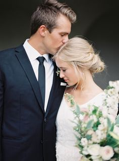 Bride and Groom | Elegant White Utah Wedding via oncewed.com