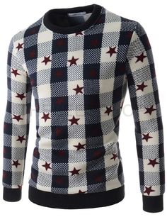 Mens Slim Round Neck Star Pattern Napping Knitted Long Sleeve Tshirts