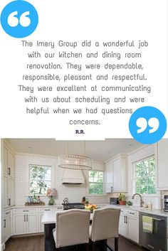 Client testimonial from a Full Kitchen and Dining Room renovation