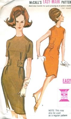 1960s Misses Easy To Sew Sheath Dress Vintage by MissBettysAttic