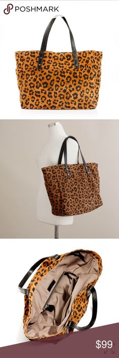 J. CREW NEWSSTAND TOTE IN LEOPARD PRINT SUEDE Made of genuine SUEDE, had moderate signs of wear, still tons of life left!! Insides are fairly clean J. Crew Bags Totes