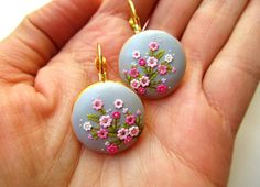 Items similar to Made to order Sakura Oriental Earrings Japanese Cherry Blossom Bright Light Delicate Soft Embossed Tiny Floral Classy Elegant on Etsy Polymer Clay Projects, Polymer Clay Art, Polymer Clay Earrings, Clay Clay, Polymer Clay Embroidery, Embroidery Art, Biscuit, Clay Design, Jewelry Show