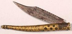 Antique Vintage 1800s Spanish or Italian Navaja Engraved Brass Folding Knife | eBay