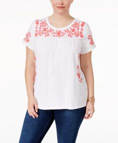 be5761adc9e Charter Club Plus Size Cotton Embroidered Peasant Top