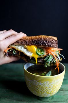 Short Rib Pho French Dip Banh Mi with Thai Basil Chimichurri.