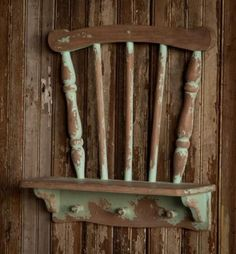 Vintage Style Repurposed Chair Wall Shelf~Chippy Green #Unbranded #Cottage