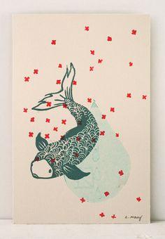 """engraving carp"" by Evelyne Mary, french illustrator and engraver Kids Prints, Menu Design, Carp, Printmaking, Illustrators, Carving, Kids Rugs, Vintage, Motifs"