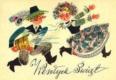 Poland. Easter. Polish Easter, Tree Branch Decor, Polish Folk Art, Art Costume, Vintage Easter, Illustration Sketches, Vintage Postcards, Holidays And Events, Easter Crafts