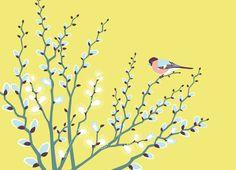 Now it's time for lovey willow kitten. Illustrator, Spring Birds, Kitten, Flowers, Animals, Home Decor, Cute Kittens, Kitty, Animales
