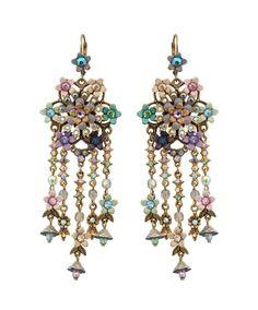 Michal Negrin Jewelry Flowers Crystal Hook Earrings