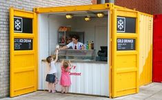 Container House - shipping container cafes Plus - Who Else Wants Simple Step-By-Step Plans To Design And Build A Container Home From Scratch? Container Coffee Shop, Container Bar, Cargo Container, Building A Container Home, Container Buildings, Container Architecture, Shipping Container Restaurant, Shipping Container Homes, Shipping Containers